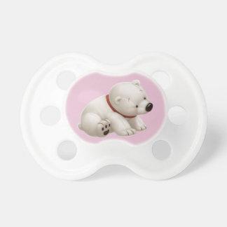 Ours blanc de bébé de Сharming (tétine rose) Sucettes Pour Bébé
