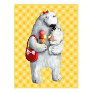 Ours blanc de mère carte postale
