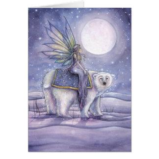 Ours blanc de Noël d'équitation féerique mystique Cartes