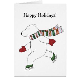 Ours blanc de patinage de glace de carte de Noël