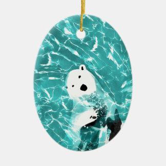 Ours blanc espiègle dans la conception de l'eau de ornement ovale en céramique
