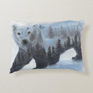 Ours blanc et la forêt coussins décoratifs