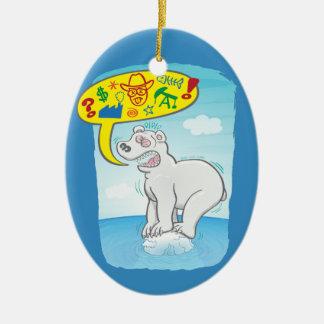Ours blanc indiquant de mauvais mots se tenant sur ornement ovale en céramique