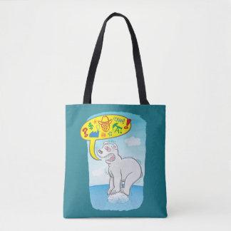 Ours blanc indiquant de mauvais mots se tenant sur tote bag