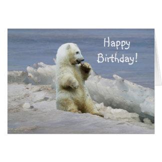 Ours blanc mignon CUB et anniversaire arctique de Carte De Vœux