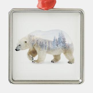 Ours blanc ornement carré argenté