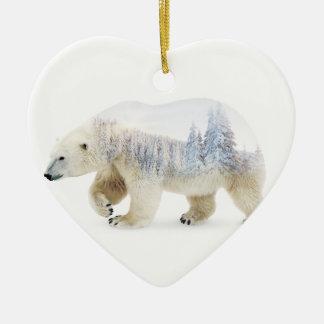Ours blanc ornement cœur en céramique