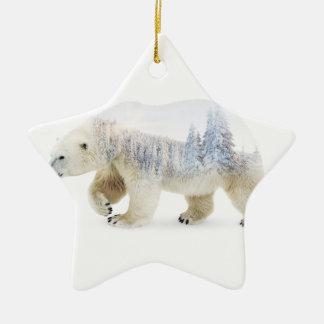 Ours blanc ornement étoile en céramique