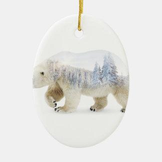 Ours blanc ornement ovale en céramique