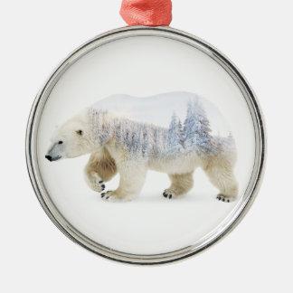 Ours blanc ornement rond argenté