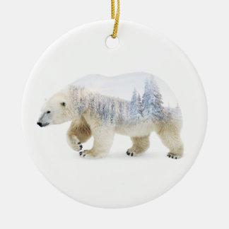 Ours blanc ornement rond en céramique