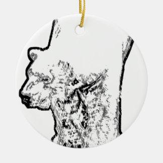 Ours blanc rôdant ornement rond en céramique