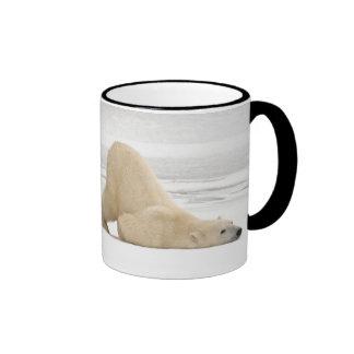 Ours blanc se rayant sur la toundra congelée mug ringer