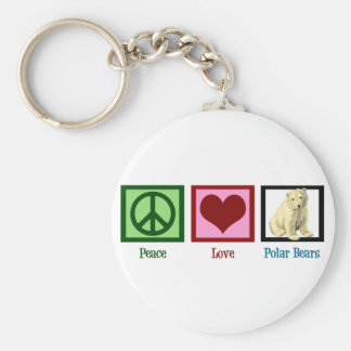 Ours blancs d'amour de paix porte-clé rond