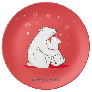 Ours blancs de Noël rouge mignon Assiette En Porcelaine