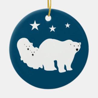 Ours blancs d'ornement de Noël blancs et bleus Ornement Rond En Céramique