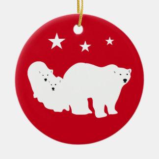 Ours blancs d'ornement de Noël rouges Ornement Rond En Céramique