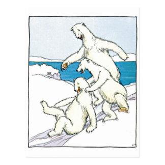 Ours blancs drôles vintages carte postale