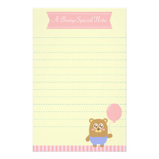 Ours brun de Kawaii tenant un ballon rose Motifs Pour Papier À Lettre