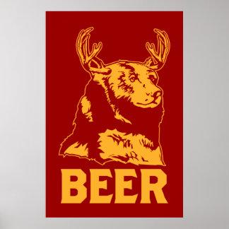 Ours + Cerfs communs = bière Affiche