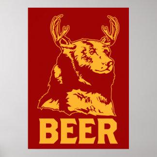 Ours + Cerfs communs = bière Affiches