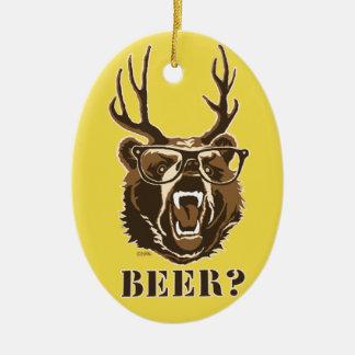 Ours, cerfs communs ou bière ornement ovale en céramique