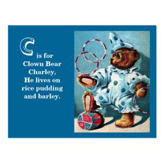 Ours Charley - lettre C de clown - ours de nounour Cartes Postales