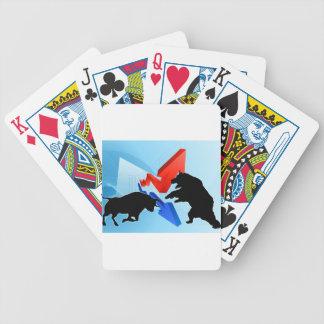 Ours contre le concept de marché boursier de cartes à jouer