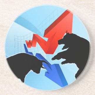 Ours contre le concept de marché boursier de dessous de verre