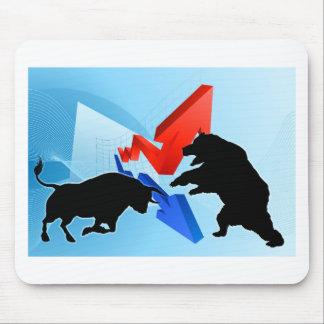 Ours contre le concept de marché boursier de tapis de souris