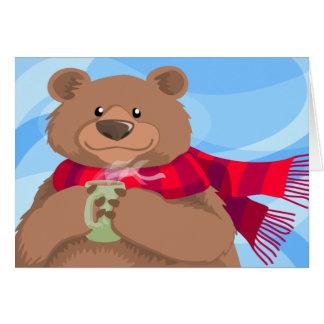 Ours dans la carte chaude de vacances d'écharpe