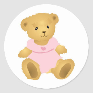 Ours dans une robe rose sticker rond