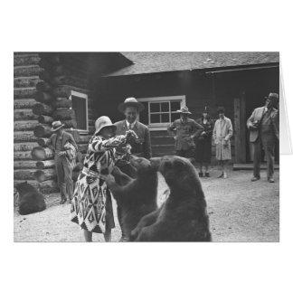 Ours de alimentation de femme avec un groupe de carte de vœux