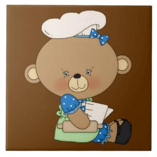 Ours de Baker de chef de cuisson avec la goupille Carreaux