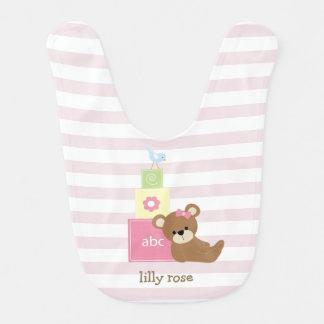Ours de Brown et blocs roses de jouet Bavoir Pour Bébé
