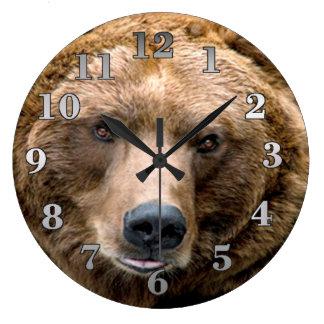 Ours de Brown Grande Horloge Ronde