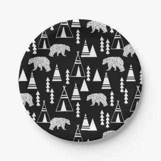 Ours de forêt de Tipi - noir/blanc/Andrea Lauren Assiettes En Papier