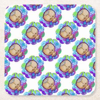 Ours de hippie dessous-de-verre carré en papier