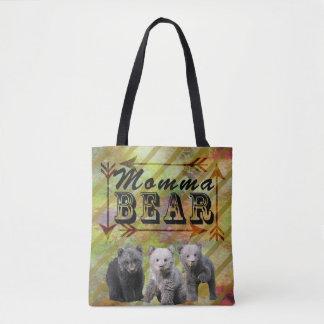 Ours de mamans d'artisan avec trois petits animaux sac