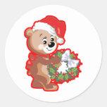 Ours de Noël avec la guirlande Autocollants Ronds
