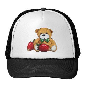 Ours de nounours avec des fraises, coloré original casquettes de camionneur