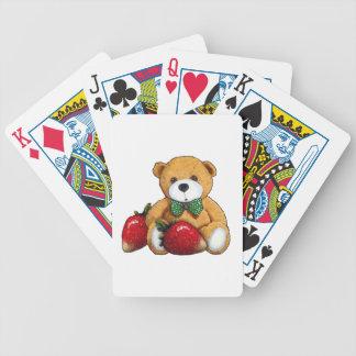 Ours de nounours avec des fraises, coloré original jeux de cartes