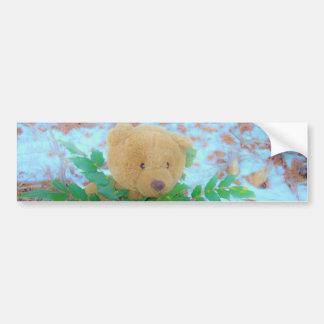 Ours de nounours dans le houx, ciel bleu autocollant de voiture