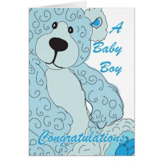Ours de nounours de félicitations de bébé dans le carte de vœux