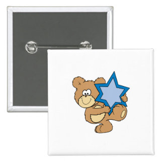 ours de nounours mignon de hanoukka tenant l'étoil badge carré 5 cm