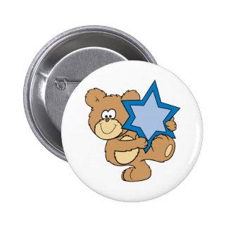 ours de nounours mignon de hanoukka tenant l'étoil badge rond 5 cm