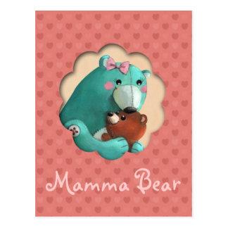 Ours de nounours mignon de maman avec son bébé carte postale