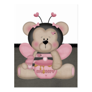 Ours de nounours rose adorable carte postale