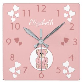 Ours de nounours rose personnalisé horloge carrée