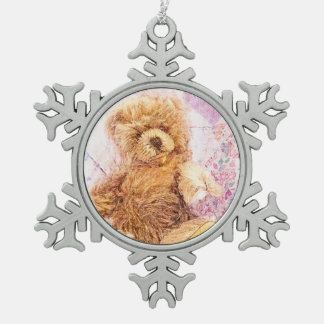 Ours de nounours vintage ornement flocon de neige pewter